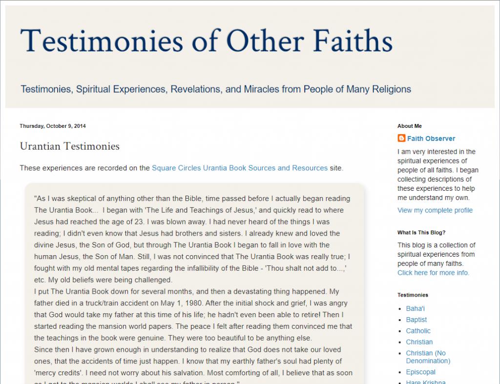Urantian Testimonies